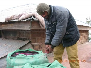 Blankets being prepared for distribution.