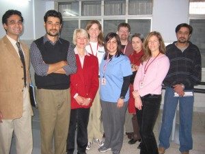 The CMAT Spinal Rehab team from Trillium hospital poses with colleagues from Holy Family Hospital in Rawalpindi.