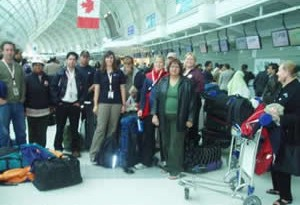 CMAT Team 3 at Pearson International Airport for check-in