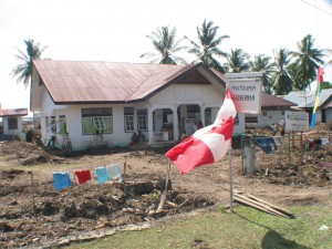 CMAT team sets up a medical clinic in Drien Rampak - Canadian flag was displayed at request of local Indonesians. (January, 2005).
