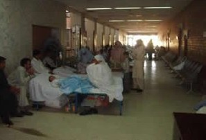 Patient beds line the halls of the hospitals in Islamabad and Rawalpindi.