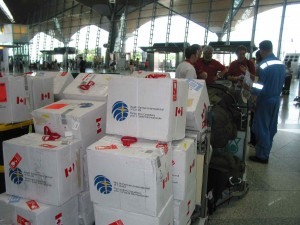 Medications purchased from HPI Canada with CMAT donation dollars wait in Medan to be loaded. (January, 2005).