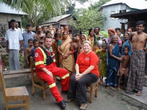 Initial assessment team David Deines and Valerie Rzepka in a Bengali village.