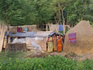Displaced villages set up temporary camps on higher ground.