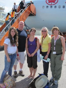 CMAT Team 11 arriving in Port au Prince. L-R Eva Bennett - student intern from Brockville, ON, Brad Fraser, PCP and Team Leader from Kelowna, BC, Anastasia Bennett, RN from Brockville, ON Jacqui Stuart, NP from Woodstock, ON and Dianna Cleland, NP from Strathroy, ON.