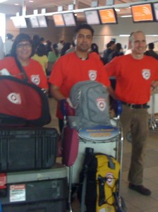 CMAT Assessment Team ready to depart Toronto's Pearson Airport for Karachi, Pakistan. L-R: Yasmeen Jabbar, RN, Omar Elahi, Medical Resident, and Martin Metz, Paramedic.
