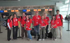 CMAT Team 3 checked in at Toronto's Pearson Airport, and ready to leave for Pakistan! L-R: Huma Ali, Samina Ali, Michael Parker, Beverly Parker, Mark Wheeler, Tricia Mackay, Robin Welsford, Rita Jacques and Zohair Kaderbhai.
