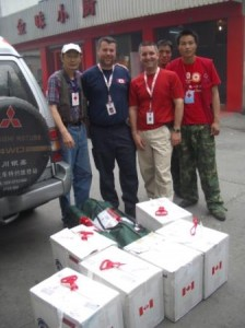CMAT Assessment team with Pharmaceutical packs from Health Partners International.
