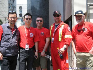 CMAT Assessment team shortly after arriving in China. L-R: Dr. Haibo Xu, Dr. Charles Jiang, Paramedic Chris Kaley, Paramedic Dave Deines, Dr. Dave Ratcliffe.