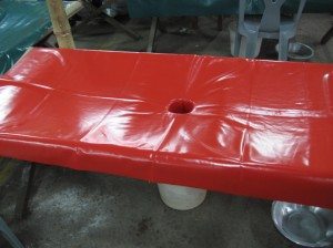 "An example of a ""cholera cot"" used at the International Centre for Diarrhoeal Disease Reasearch in Bangladesh."