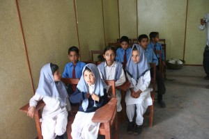 Girls in their classroom.