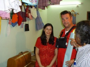 Maria Conceicao, Founder of the Maria Cristina Foundation shows CMAT Field Assessment officer David Deines the sewing skills room at the Maria Cristina Foundation training centre in Dhaka.