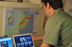 CMAT Rapid Assessment Team member Ryan Thorburn monitors information received from international partners, colleagues, and other governmental sources.