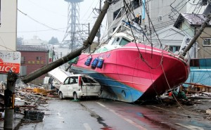 A boat found several hundred metres inland was placed there by the force of the tsunami.