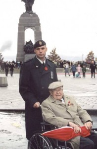 James Caddell and his Grandfather, both Canadian Forces veterans, at the War Memorial in Ottawa.