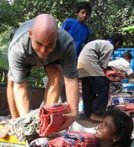 James in Tamil Nadu, delivering supplies to orphans at Sirumalar Home for Children. (Early 2005)