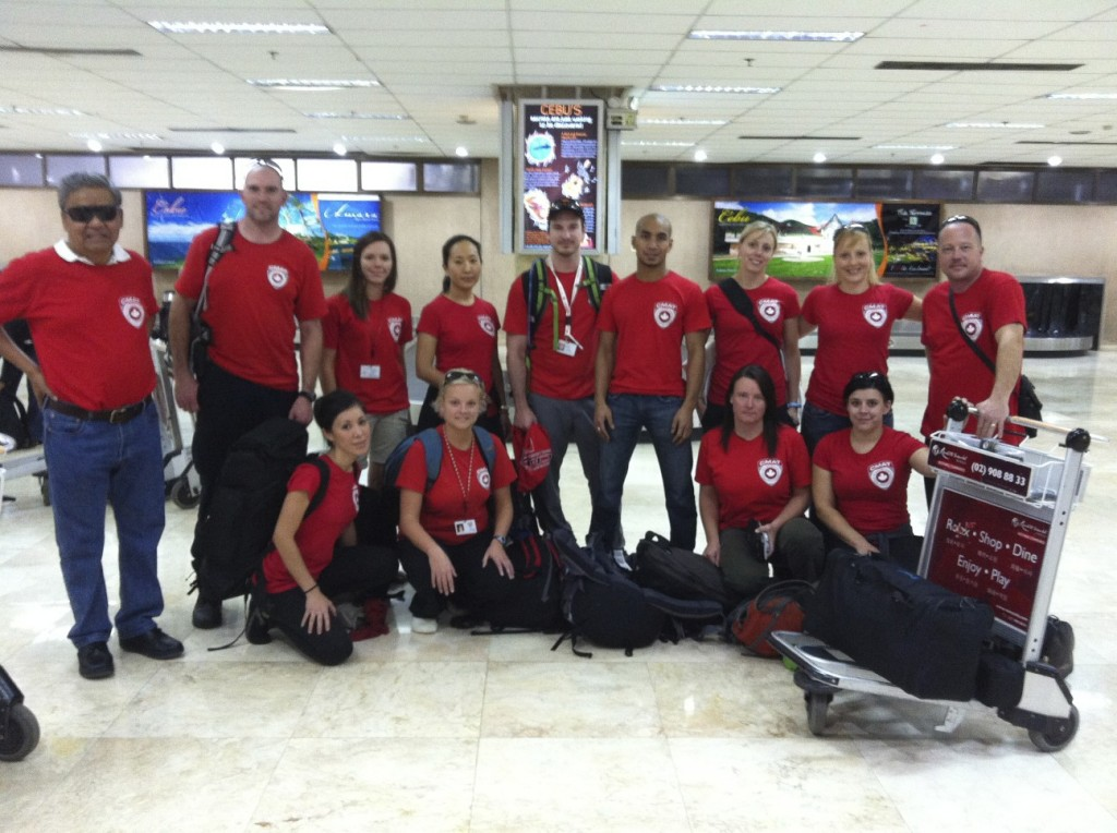 CMAT Medical Team 1 arrives in Cebu. L-R Back Row: Dr. Rene Bollozos, Justin Law, Janice Stirling, Lydia Chang, Brandon Duncan, Dr. Rashad Chin, Kim Cossitt, Christina Coambs, Michael Parker.  L-R Front Row: Tanya Correa, Kate Auger, Teresa Berdusco, Beverley Parker.  Absent: Lesley Eltom.