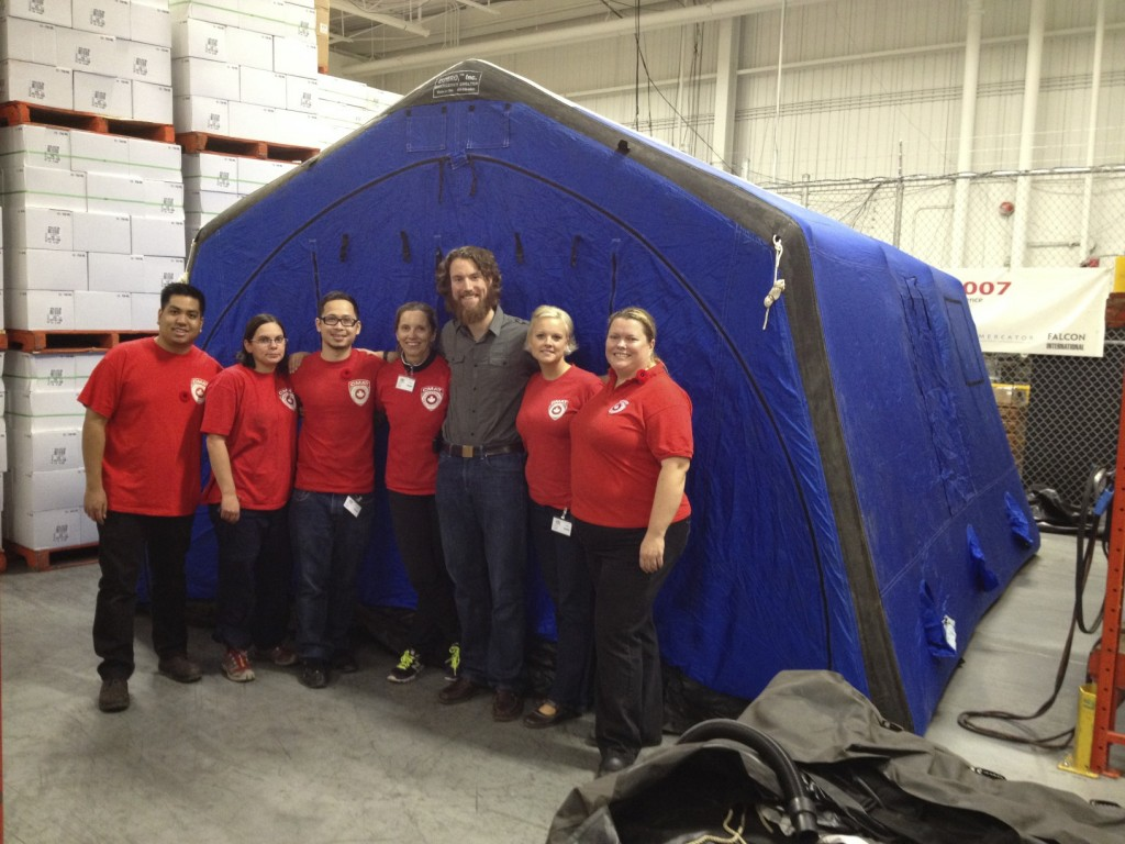 CMAT Volunteers check equipment, including the field hospital tent, in anticipation of deployment to the Philippines.