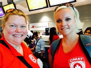 CMAT Executive Director Valerie Rzepka (left), and Director of Communications Kate Auger (right) about to board Phillippine Airlines flight from Toronto to Manila.