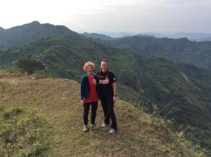"""We discovered a walk leading to the next village this morning and enjoyed the emerald rice paddies cascading down the hillsides on both sides of the ridge."""